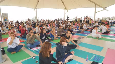 Baku, Azerbaijan, may 15, 2017: Men and women yoga classes during the festival Day of yoga