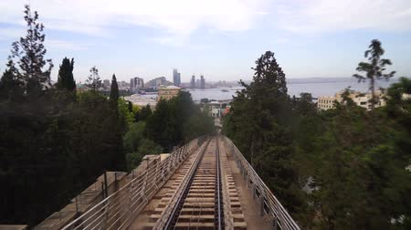 View of a funicular railway used to go up and down the hills