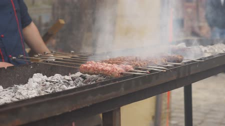 špejle : A mans hands rotating the skewers. Shish kebab. Pork or lamb meat pieces being fried on a charcoal grill. Frying grilled pieces of meat during the rest.