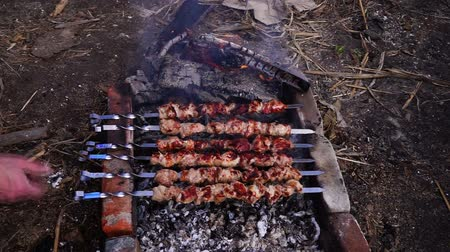 being prepared : Shashlyk of pork being prepared on a mangal, closeup. Man prepares pork shashlik on skewers Stock Footage