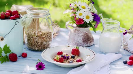 йогурт : Fresh summer breakfast with fruits in garden