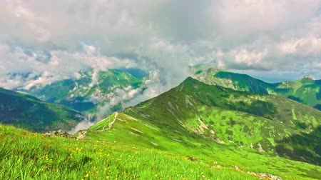 синий : Top of Kasprowy wierch and green valley in the summer, Poland Стоковые видеозаписи