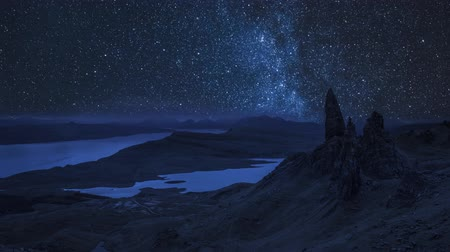 dark island : Milky way over Old Man of Storr at night, Scotland, UK