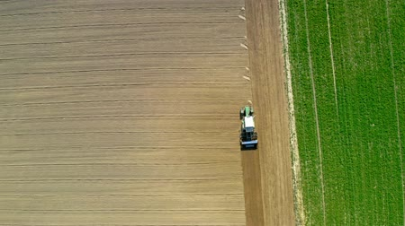 plowed land : Blue tractor working on spring field, aerial view Stock Footage