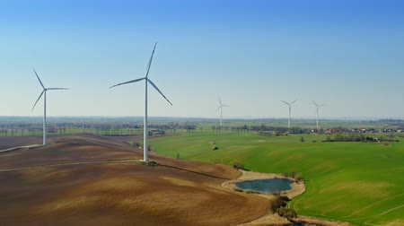carvão gigante : Wind farms on the field near the lake in the countryside