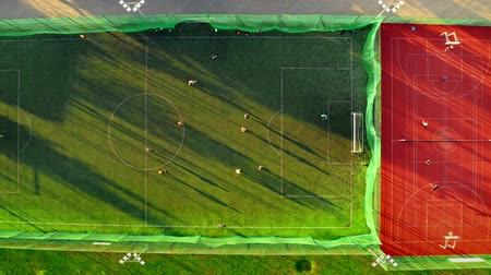 dron : Sports field with footballers playing, aerial view in Poland
