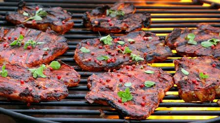 schab : Tasty and spicy pork neck on a hot grill in summer