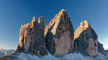 tre : Majestic aerial view of Tre Cime di lavaredo at sunrise