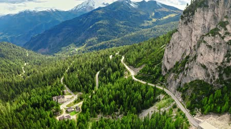 dolomit : Passo Falazarego near Sass de Stria peak, Dolomites, aerial view Stok Video