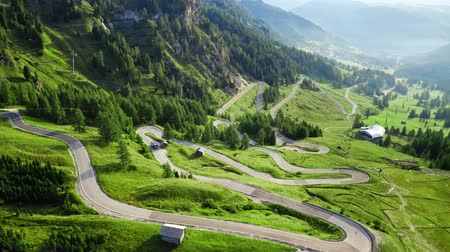dolomiti : Areal view of winding road at Passo Gardena, Dolomites Stock Footage