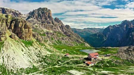 tre : Mountain shelter Dreizinnen Hut in Tre Cime, Aerial view, Dolomites