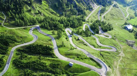 serpentine : Winding road at Passo Gardena, aerial view, Dolomites Stock Footage