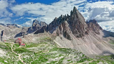 dolomiti : Aerial view of Monte Paterno in sunny Dolomites, Italy