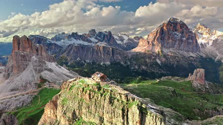 south tyrol : Mountain shelter nuvolau at Passo Giau in Dolomites, aerial view