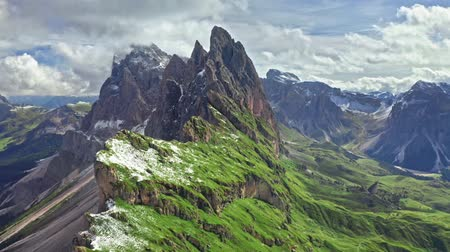 dolomiti : Seceda in South Tyrol, aerial view, Dolomites, Italy