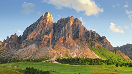 dolomite : Passo delle Erbe in Dolomites at sunset, view from above