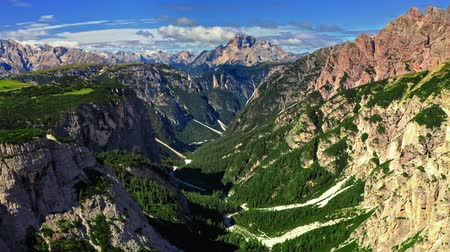 monte paterno : View to green valley in Tre Cime di Lavaredo, Dolomites Stock Footage