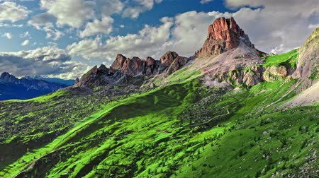 dolomit : Averau peak near Passo Giau, Dolomites, Italy, aerial view Stok Video