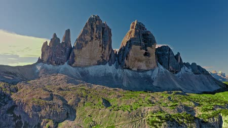 dolomit : Tre Cime di lavaredo at sunrise, Dolomites, aerial view