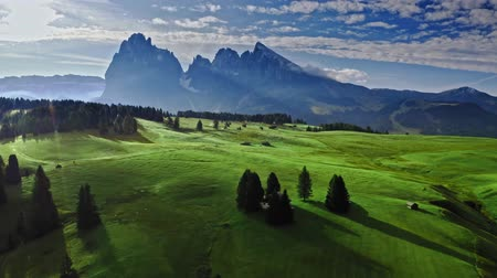 dolomit : Aerial view of Alpe di Siusi in sunrise, Dolomites Stok Video