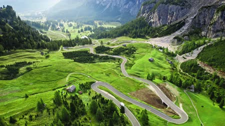 tirol : Aerial view of awesome winding road at Passo Gardena, Dolomites