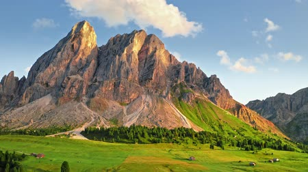 dolomit : Passo delle Erbe in Dolomites at sunset, aerial view