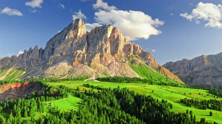 south tyrol : Stunning aerial view of Passo delle Erbe, Dolomites, Italy Stock Footage