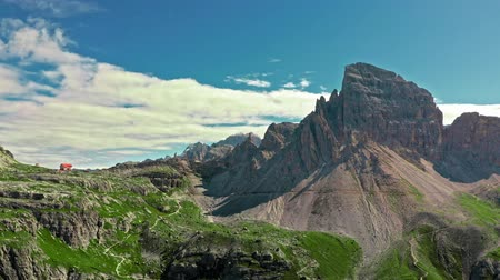 tre : Tre Cime di lavaredo in Dolomites, view from above Stock Footage
