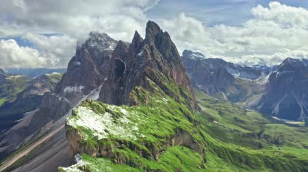 dolomit : Seceda in South Tyrol, Dolomites from above, Italy