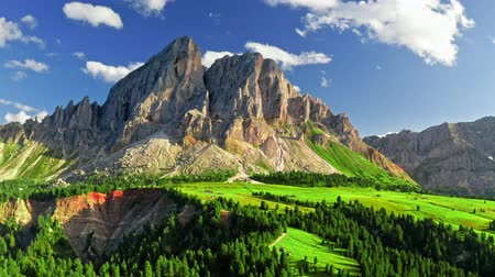 dolomit : Stunning view of Passo delle Erbe at sunset, aerial view