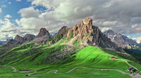패스 : Passo Giau in Dolomites and green hills, aerial view, Italy