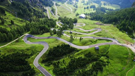 serpentine : Stunning winding road at Passo Gardena in Dolomites
