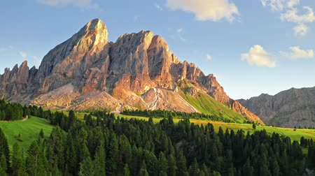 Sunset at passo delle Erbe in Dolomites, aerial view