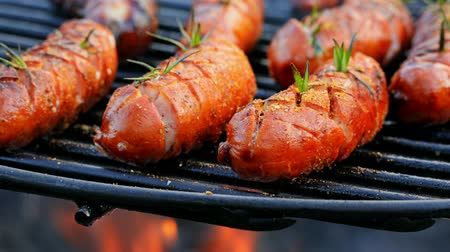 kiełbasa : Closeup of tasty sausage on grill with spices and herbs