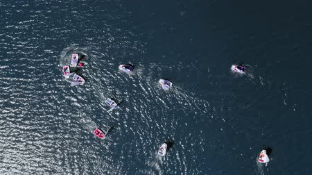 iatismo : Top down view sailing small boats on the lake