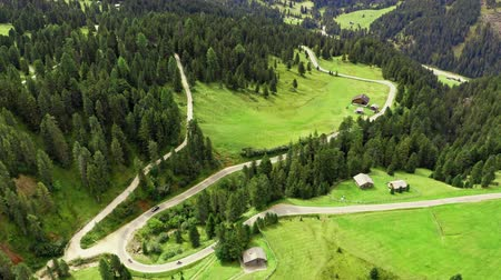 dolomit : Aerial view of mountain road at Passo delle Erbe, Dolomites