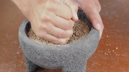 Hand of person using grinding stone and mortar and pestle to grind sprouted wheat berries Stok Video