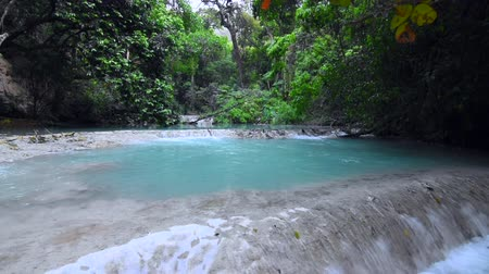 yemyeşil bitki örtüsü : Wide angle shot of turquoise blue pools terraces surrounded by lush tropical forest above La Conchuda waterfall in Rio la Venta Canyon in Chiapas, Mexico, with natural sound