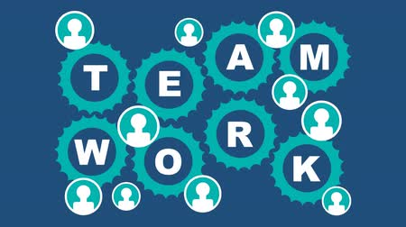 обязательство : Team work animated illustration. Rotating gears, people icons, finger gesture thumbs up, green and white elements on dark blue background. Seamless loop video animation. Стоковые видеозаписи