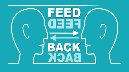 satysfakcja : Feed back animated illustration. Two heads in white line drawing, communication, yes button, no button, arrows. Video for soft skills training. Wideo
