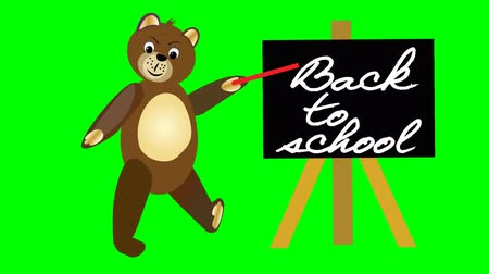 enrollment : Brown teddy bear jumps would sign with blackboard Back to school. Welcome banner for Children Entering School. Video with green matte, animated illustration clip