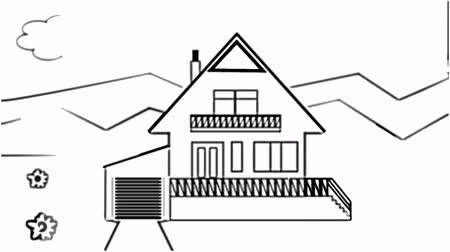 dom : Fast animated pencil sketch of a family house in landscape, black and white design, adding of colors, title Stop dreaming start building Wideo