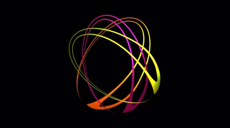 elipse : Three oval shapes in vivid colors and rotating building multicolored flower.