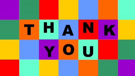 sayesinde : Thank you video composed of animated colorful squares with letters Stok Video