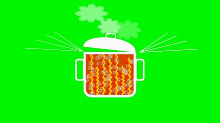 propagation : Animated pot with boiling contents., rising bubbles, swinging lid, ascending steam. Headline it is hot. Useful for buzz marketing, viral advertisement, bussines metaphor