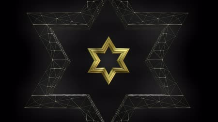 kippur : David star shape in wireframe render and gold design, seamless loop video Stock Footage