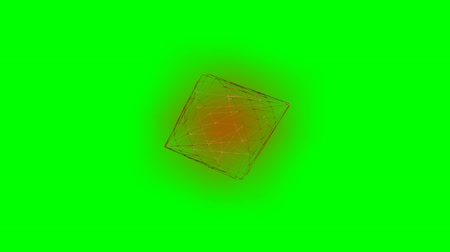 polygone : Intro video animation with wireframe cone rotating, exploding, recovery of original object, hexagonal frame. Movie on green screen Stock Footage