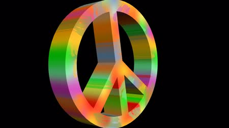 variegado : For peace animation with anti war symbole in rainbow colors. 3d antiwar sign in hippies style moving on black background, zooming. 3D animated inscription peace