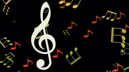 ses : Musical background, white treble clef moving horizontal in swarm of yellow and orange musical notes on black background.