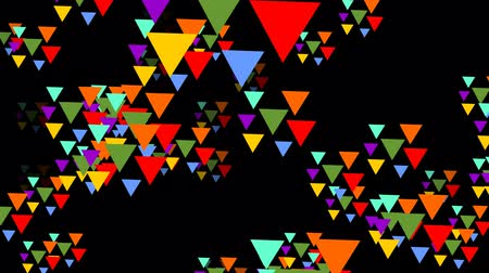 trójkąt : Multicolored triangle groups flying trough space. Triangles in vivid psychedelic colors on black background.